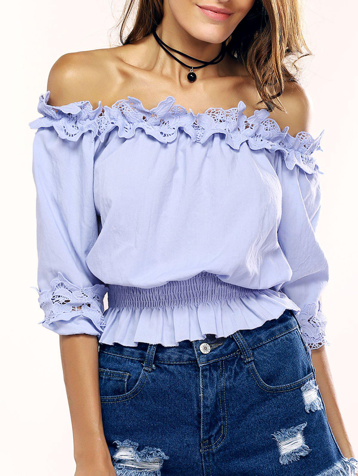 Graceful Off-The-Shoulder Ruffled Blouse For Women - AZURE ONE SIZE
