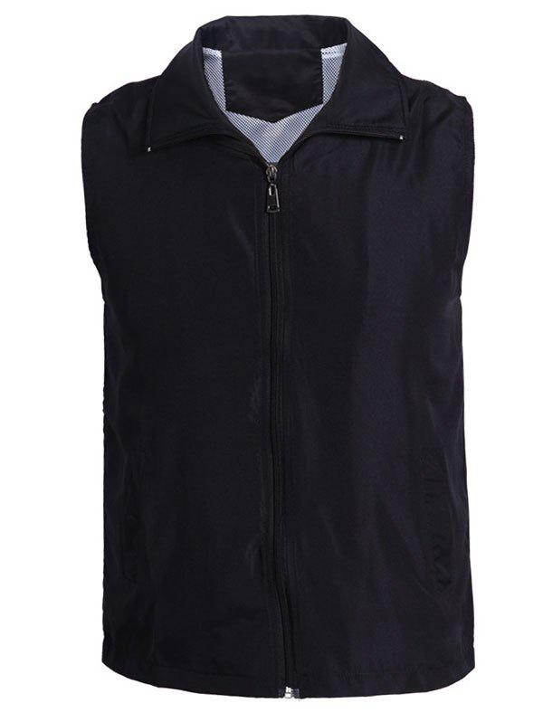 Turn-Down Collar Solid Color Zip-Up Polyester Men's Waistcoat - BLACK 2XL