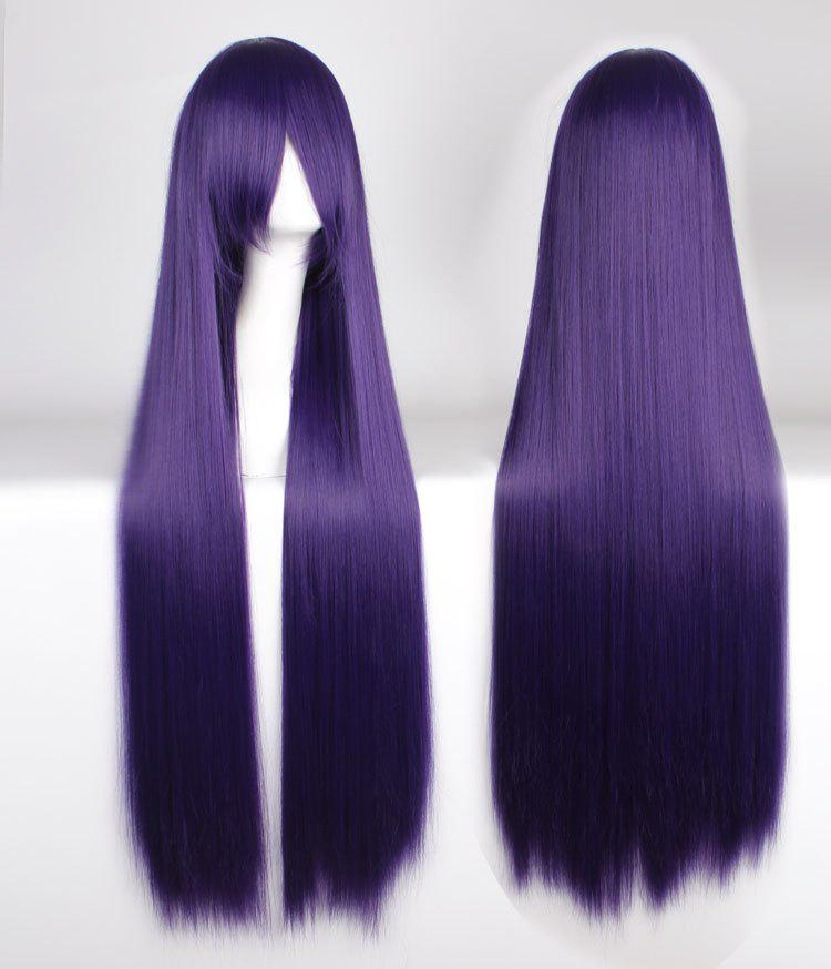 Attractive 100CM Extra Long Silky Straight Purple Side Bang Anime Cosplay Wig - PURPLE