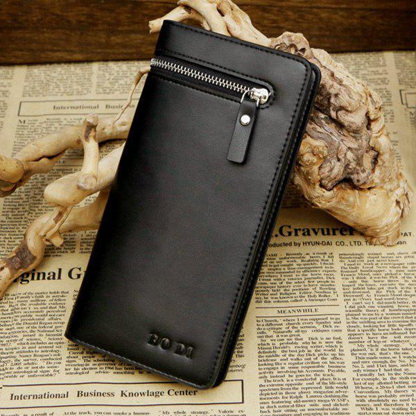 Simple Bi-Fold and Zip Design Men's Wallet - BLACK