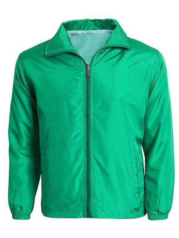 Zip-Up Turn-Down Collar Long Sleeve Solid Color Men's Jacket - GREEN 4XL