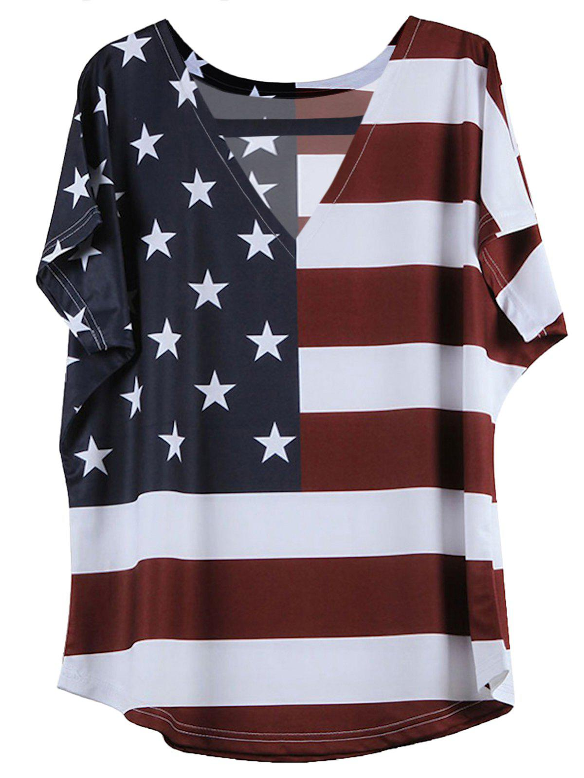 Short American Flag Pattern Sleeve V-Neck T-Shirt - BLUE/RED 3XL