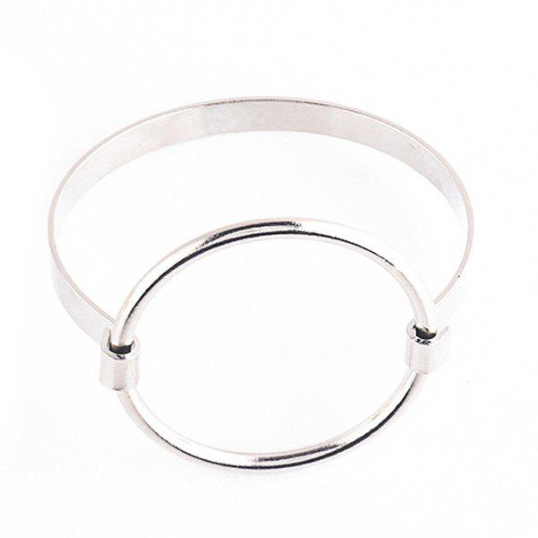 Big Round Circle Hollow Out Bracelet - SILVER