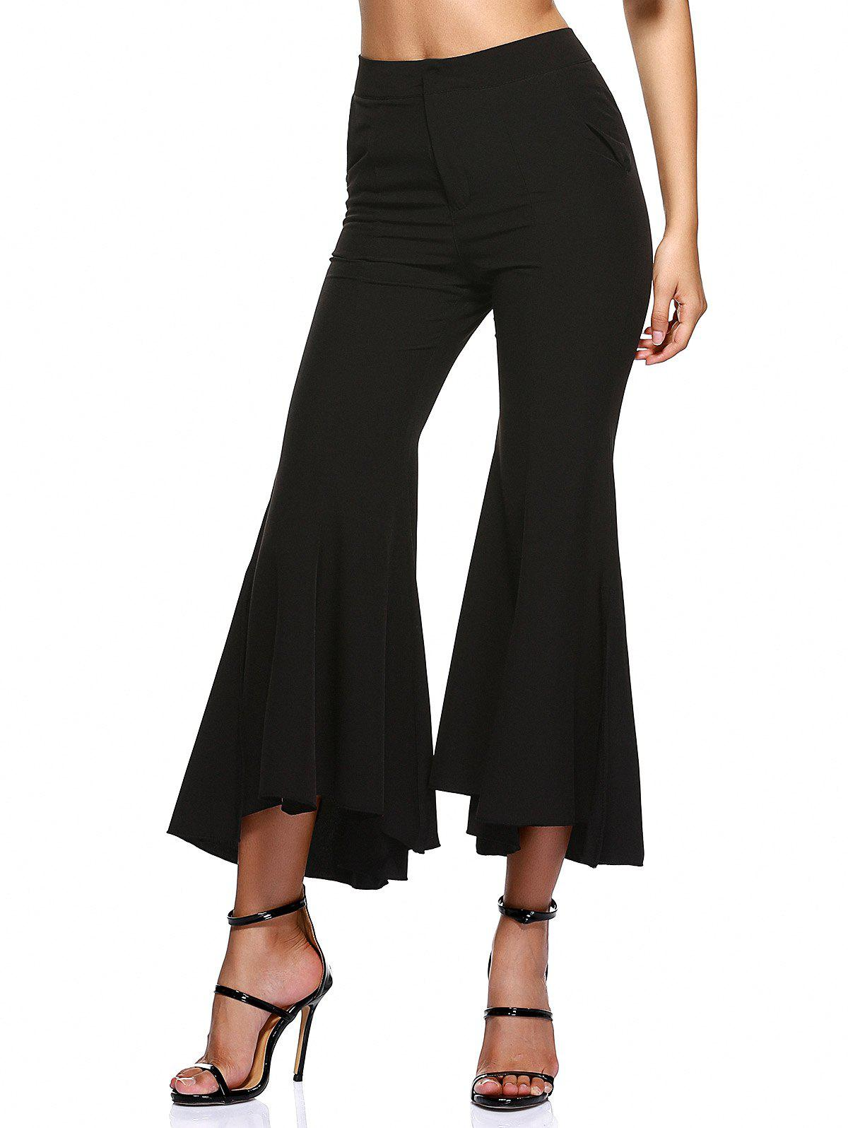Stylish High Waist Bell-Bottom Side Slit Trousers - BLACK M