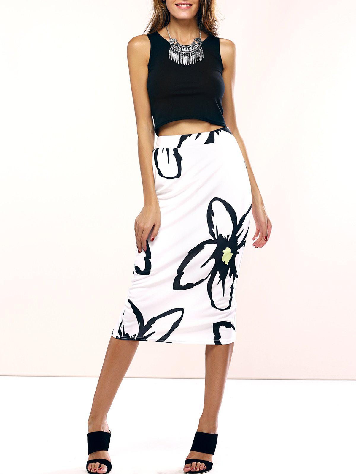 Chic Black Tank Top and Floral Print Skirt Women's Twinset - WHITE/BLACK XL