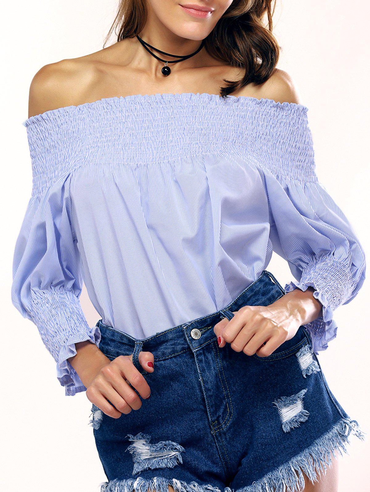 Fashionable Off-The-Shoulder Striped Blouse For Women - STRIPE L