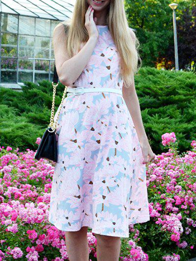 Vintage  Jewel Neck Sleeveless Floral Print Womens Flare DressWomen<br><br><br>Size: S<br>Color: PINK