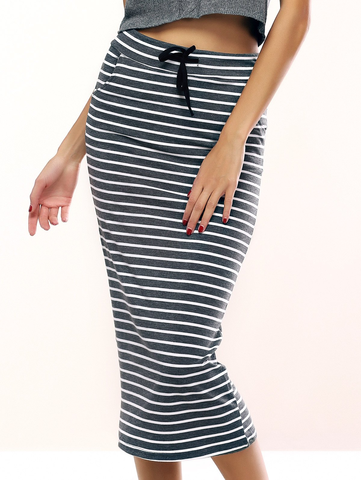 Brief Drawstring Striped Skirt For Women - GREY/WHITE ONE SIZE