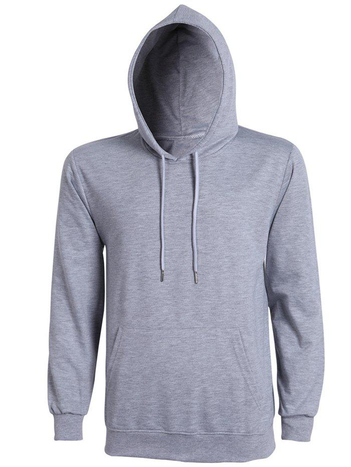 Casual Solid Color Ribbed Hem Long Sleeves Hoodie For Men - GRAY 3XL