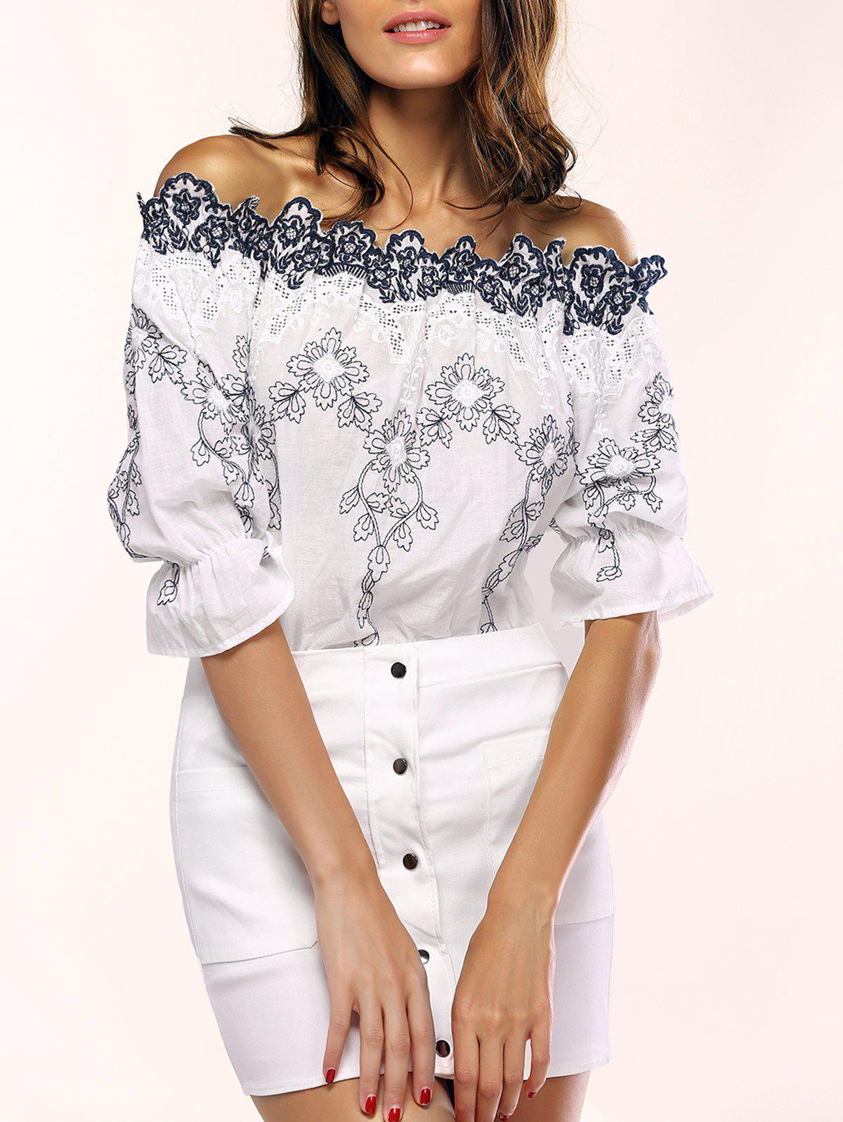 Charming Embroidered Blouse and Snap Buttoned Skirt Women's Twinset - WHITE M