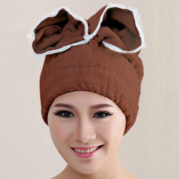 Fashionable Multicolor Microfiber Super Absorbent Dry Hair Towel Bathing Cap - COFFEE