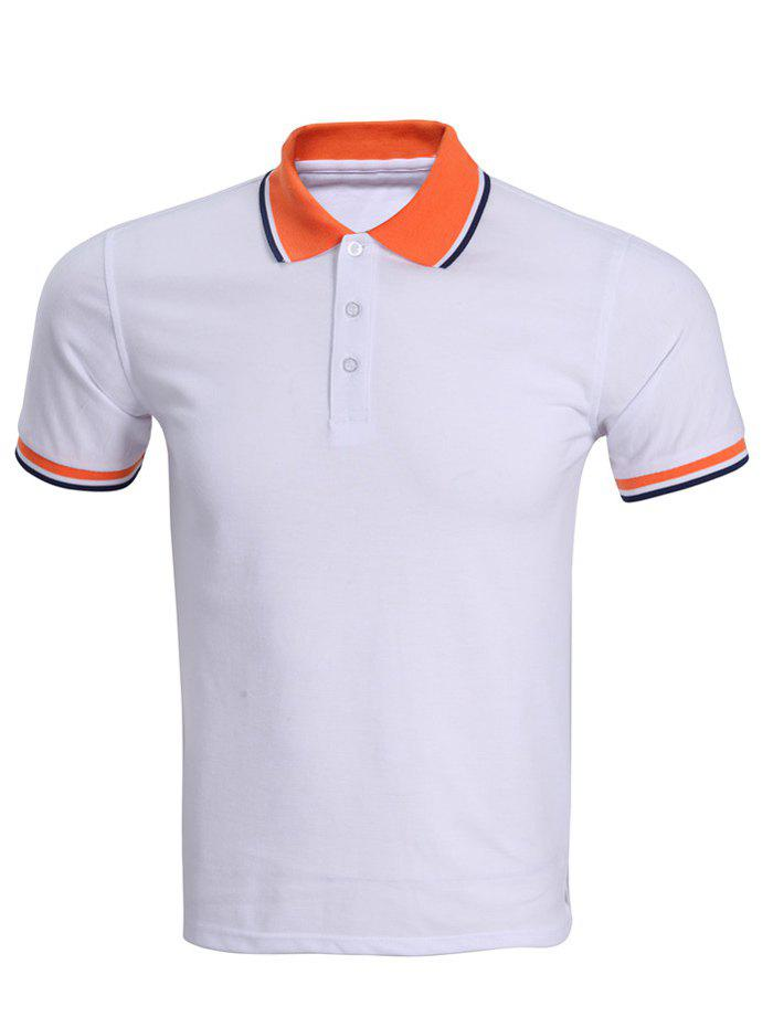 Classic Stripe Hem Design Short Sleeves Polo Shirt For Men - WHITE XL