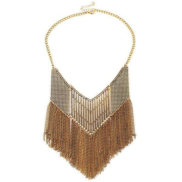 Hollow Out Geometric Chains Necklace - GOLDEN
