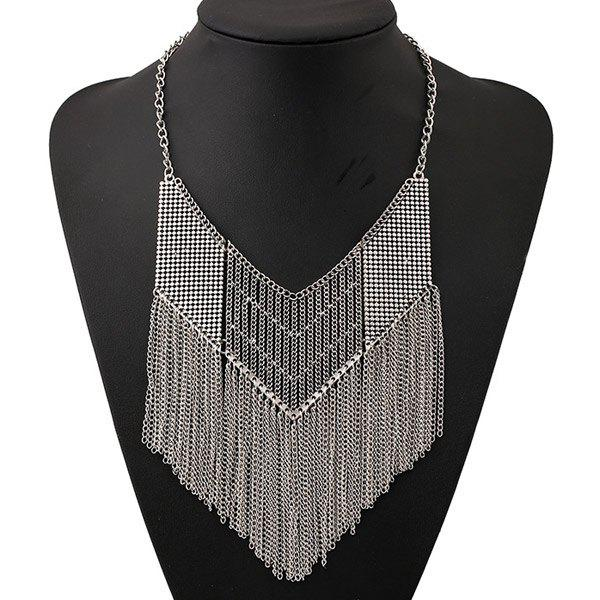 Hollow Out Geometric Chains Necklace - SILVER