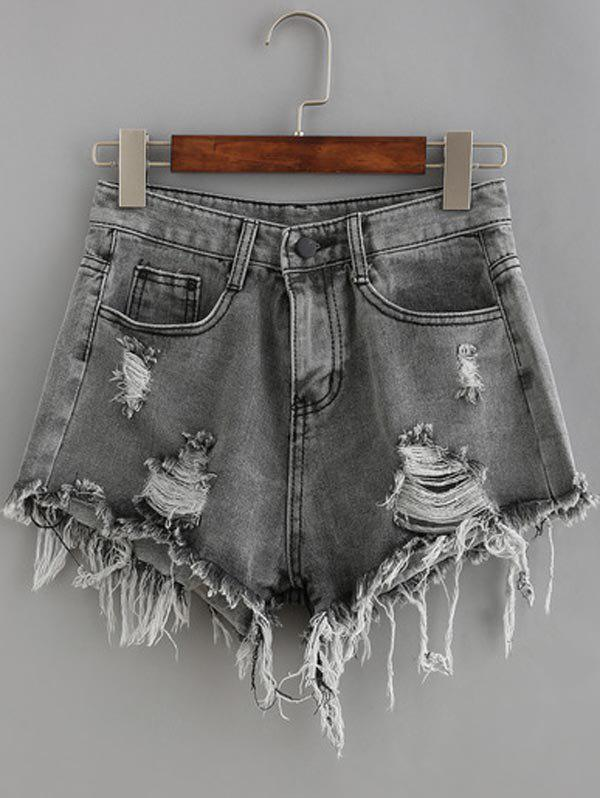 Pockets Ribbed Distressed Wash Denim Shorts - SMOKY GRAY L