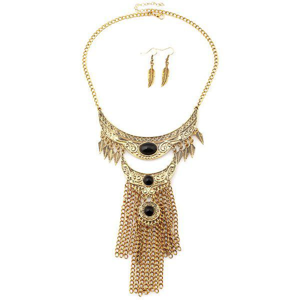 A Suit of Charming Engraved Floral Leaf Moon Chains Necklace and Earrings For Women