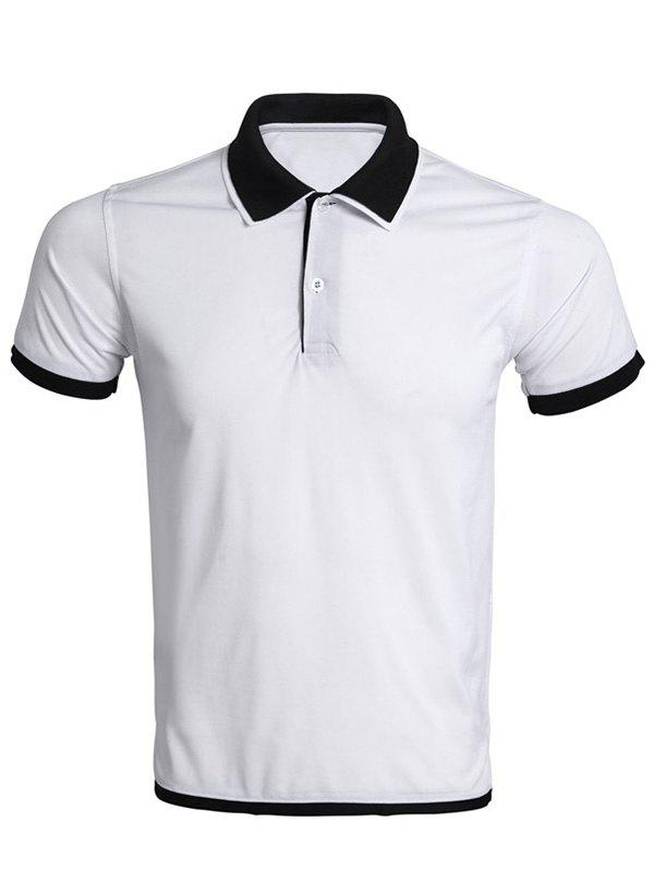 Color Block Splicing Turn-Down Collar Men's Polo T-Shirt - WHITE M