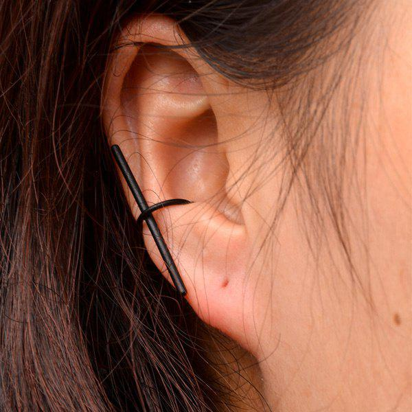 One Piece Crisscross Geometric Ear Cuff - BLACK