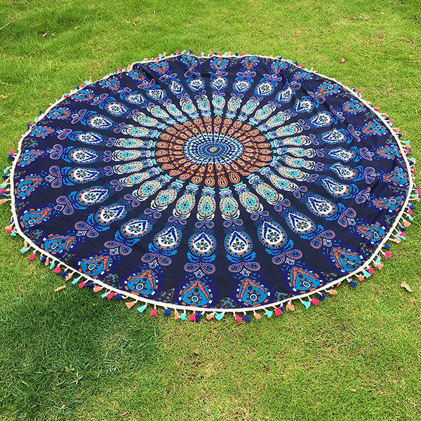 Bohemian Colorful Tassel Indian Mandala Wall Hanging Yoga Mat Gypsy Cotton Tablecloth Round Beach Throw - PURPLISH BLUE