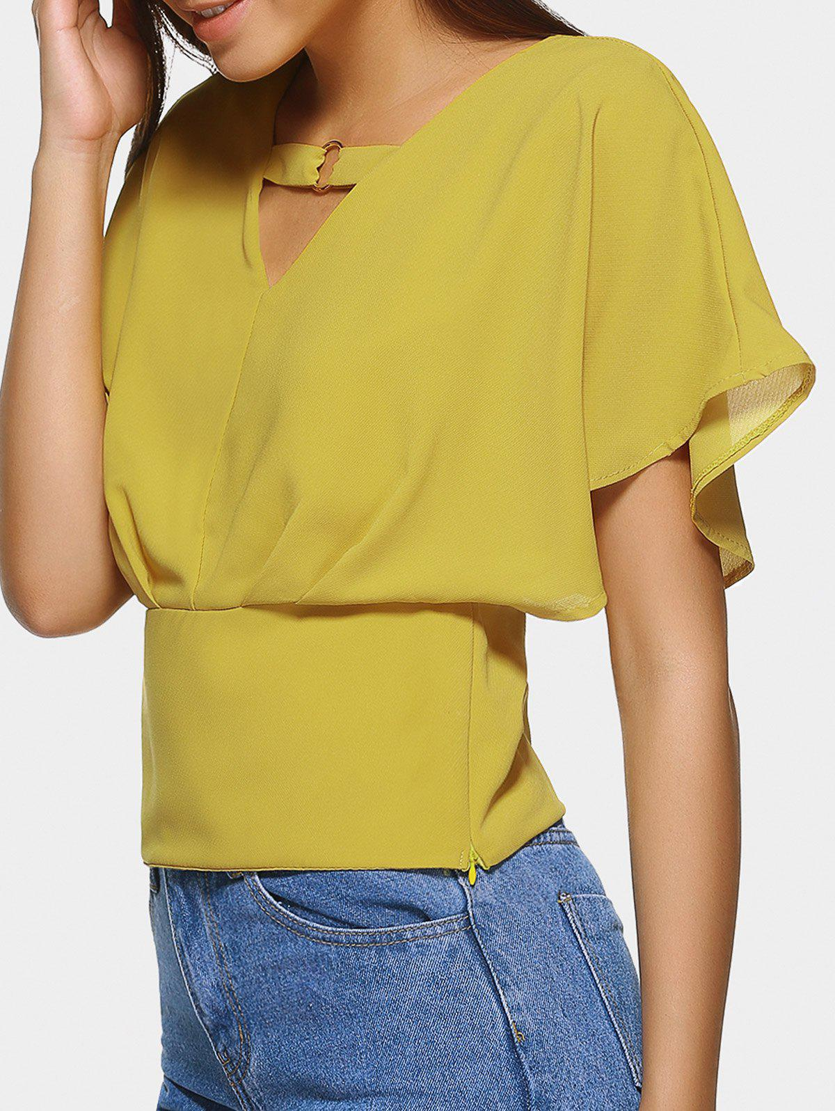 Stylish V-Neck Butterfly Sleeve Blouse For Women - YELLOW ONE SIZE