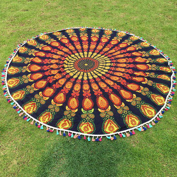 Bohemian Colorful Tassel Indian Mandala Yoga Mat Hippy Boho Gypsy Cotton Tablecloth Round Beach Throw - BLACKISH GREEN