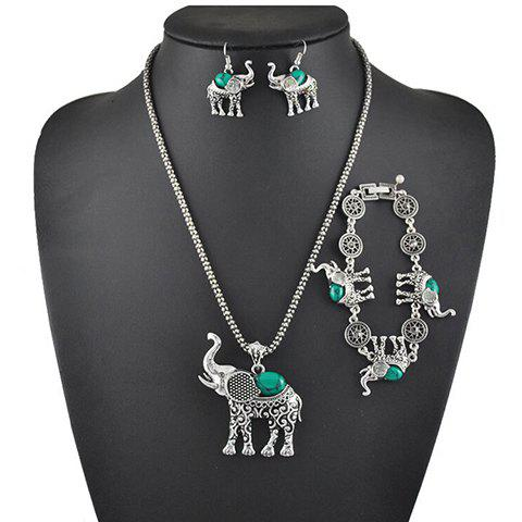 A Suit of Faux Gem Elephant Necklace Bracelet and Earrings exquisite candy color faux gem embellished flower pattern bracelet for women