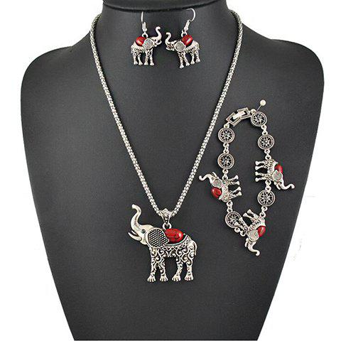 A Suit of Faux Gem Elephant Necklace Bracelet and Earrings - RED