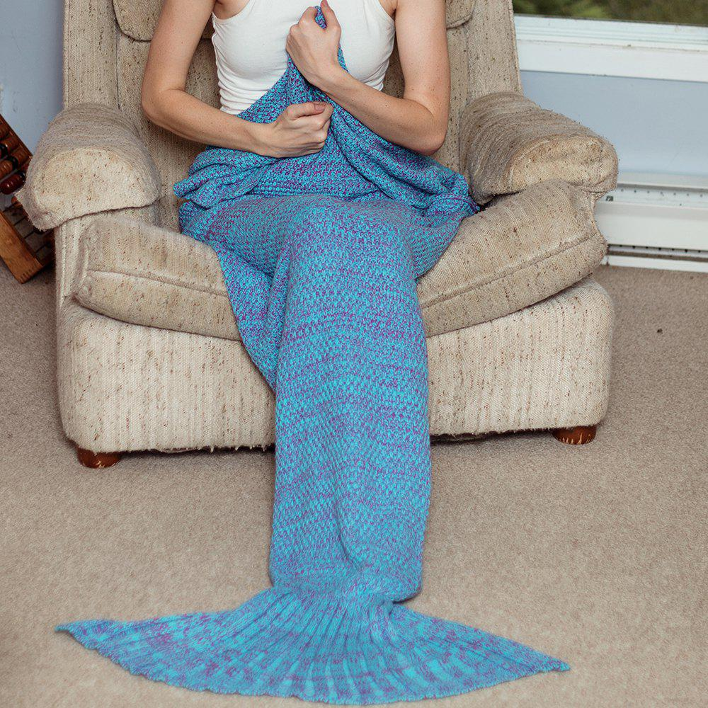 Fashionable Women's Knitted Fishtail Blanket - BLUE ONE SIZE(FIT SIZE XS TO M)