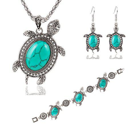 A Suit of Cute Faux Gem Tortoise Necklace Bracelet and Earrings For Women