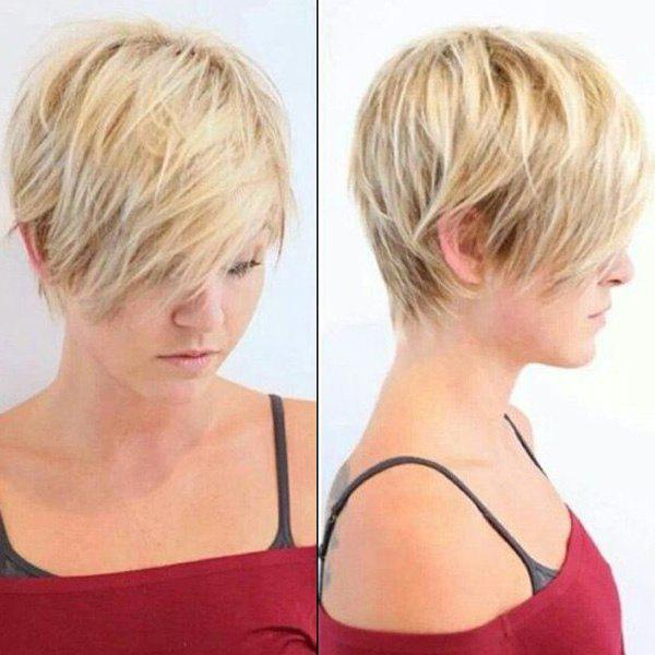 Vogue Short Mixed Color Human Hair Fluffy Straight Layered Capless Wig For Women - GOLDEN BROWN/BLONDE