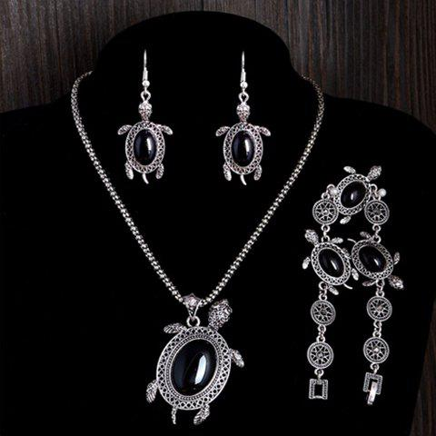 A Suit of Fake Gemstone Tortoise Jewelry Set - BLACK