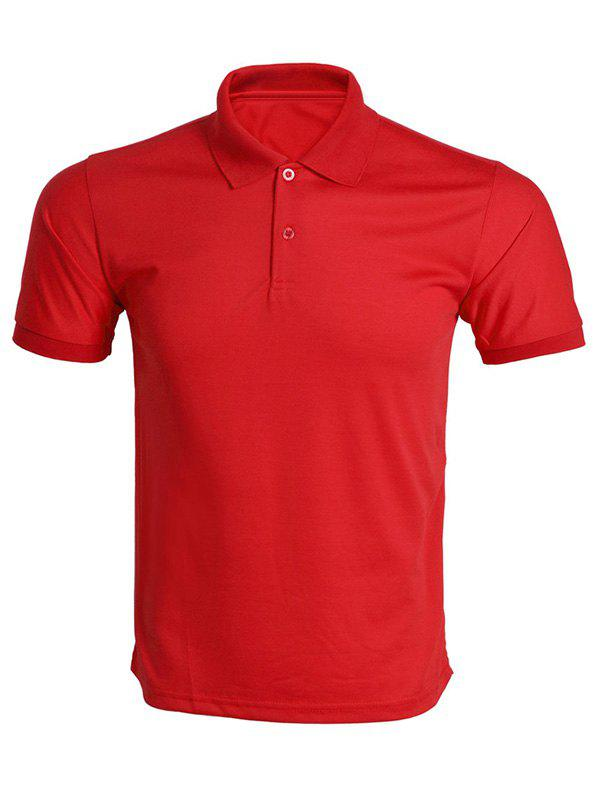 Solid Color Turn-Down Collar Men's Polo T-Shirt - RED 3XL