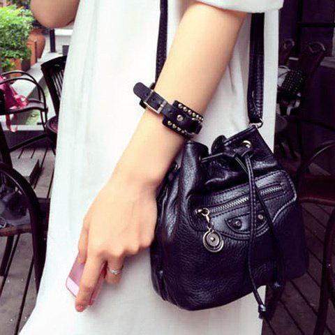 Trendy Drawstring and Solid Color Design Women's Crossbody Bag - BLACK