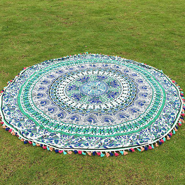 Bohemian Colorful Tassel Indian Elephant Bird Wall Hanging Yoga Mat Gypsy Cotton Tablecloth Round Beach Throw -  LIGHT GREEN