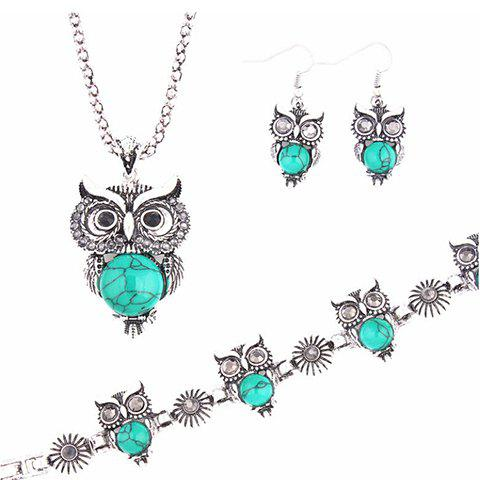 A Suit of Fake Gemstone Owl Jewlry Set - BLUE
