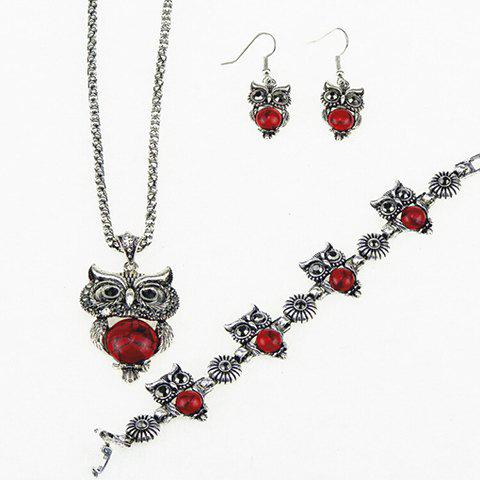 A Suit of Fake Gemstone Owl Jewlry Set - RED