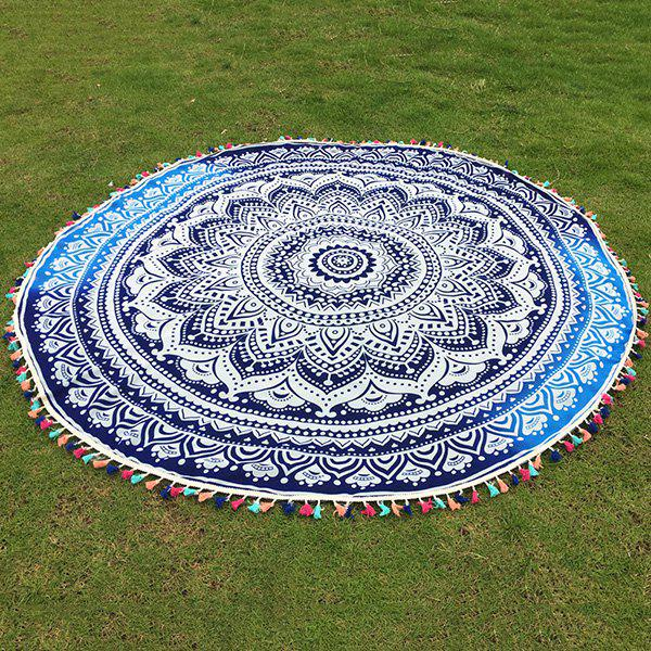 Bohemian Colorful Tassel Lotus Flower Totem Wall Hanging Yoga Mat Gypsy Cotton Tablecloth Round Beach Throw - DEEP BLUE