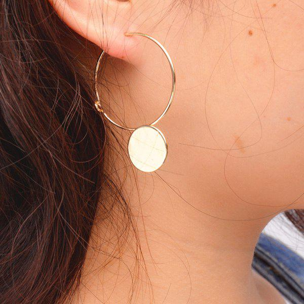 Pair of Brief Style Disc Hollow Out Circle Earrings For Women
