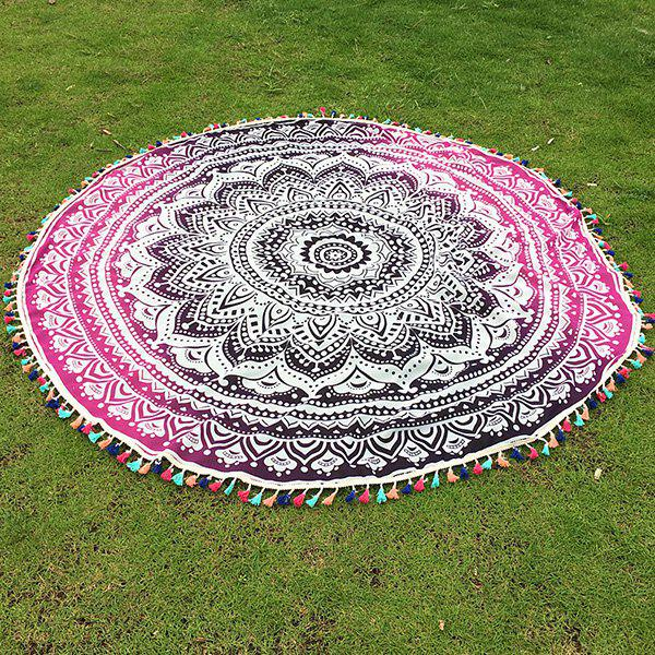 Bohemian Colorful Tassel Lotus Flower Totem Ombre Yoga Mat Gypsy Cotton Tablecloth Round Beach Throw - ROSE