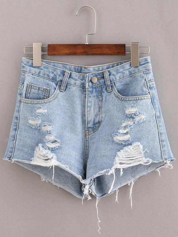 Ribbed Pockets Distressed Denim Shorts - LIGHT BLUE S