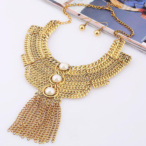 A Suit of Faux Pearl Chains Necklace and Earrings - WHITE/GOLDEN