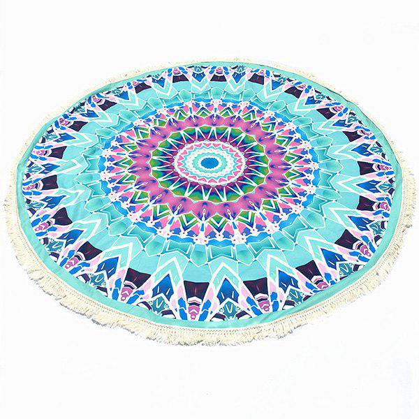 Bohemian Tassel Fringing Tribal Geometric Totem Yoga Mat Gypsy Cotton Tablecloth Light Blue Round Beach Throw - LIGHT BLUE