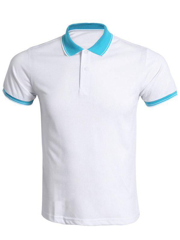 Color Block Splicing Polo Collar Men's T-Shirt - WHITE S