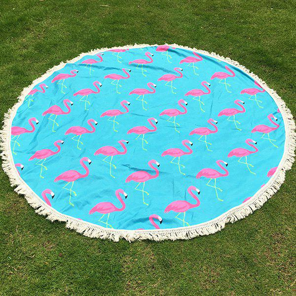 Tropical Style Tassel Fringing Yoga Mat Gypsy Cotton Tablecloth Flamingo Round Beach Throw - AZURE