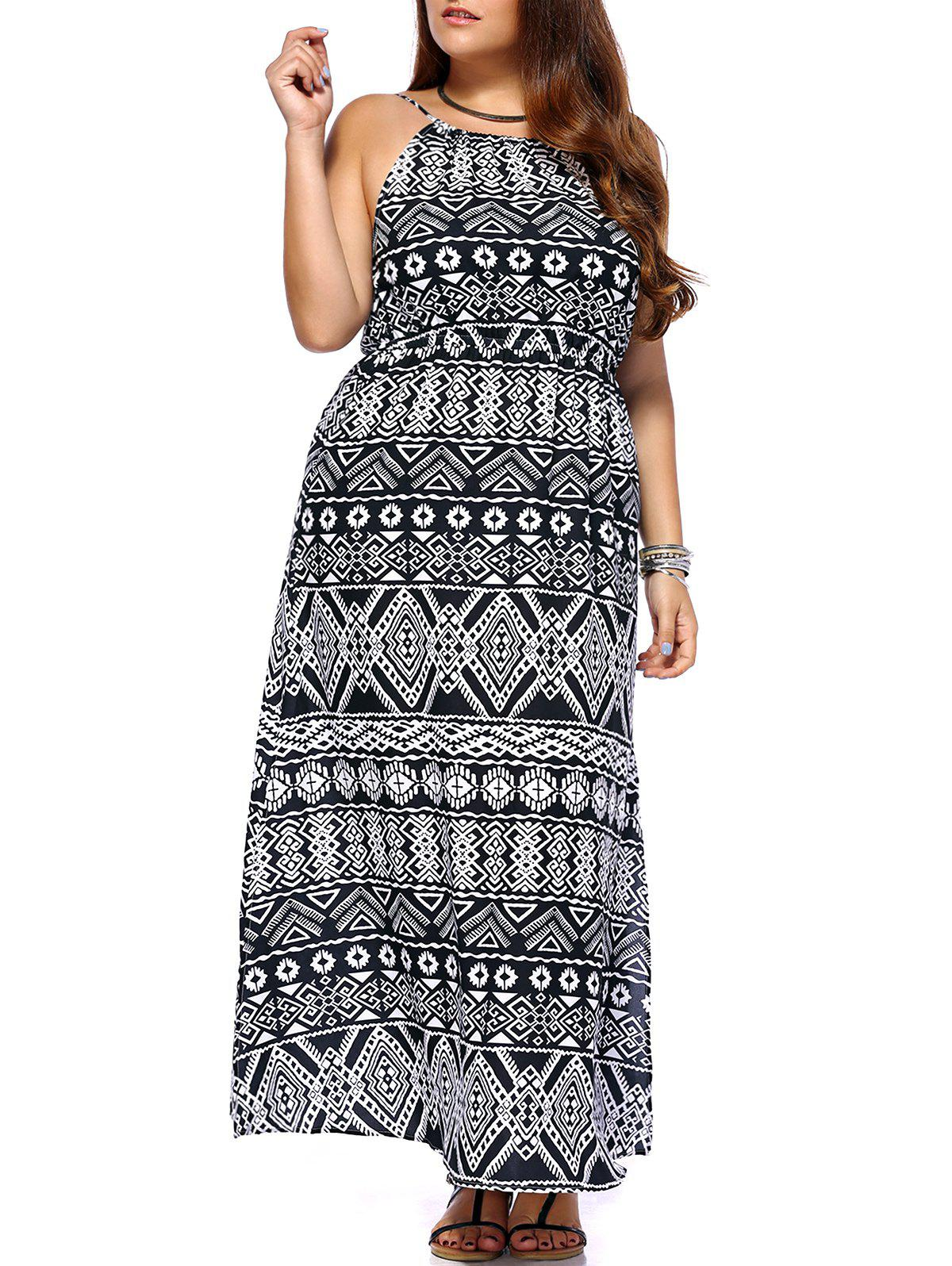 Trendy Geometrical Printed Sleeveless Plus Size Dress For Women - COLORMIX 3XL