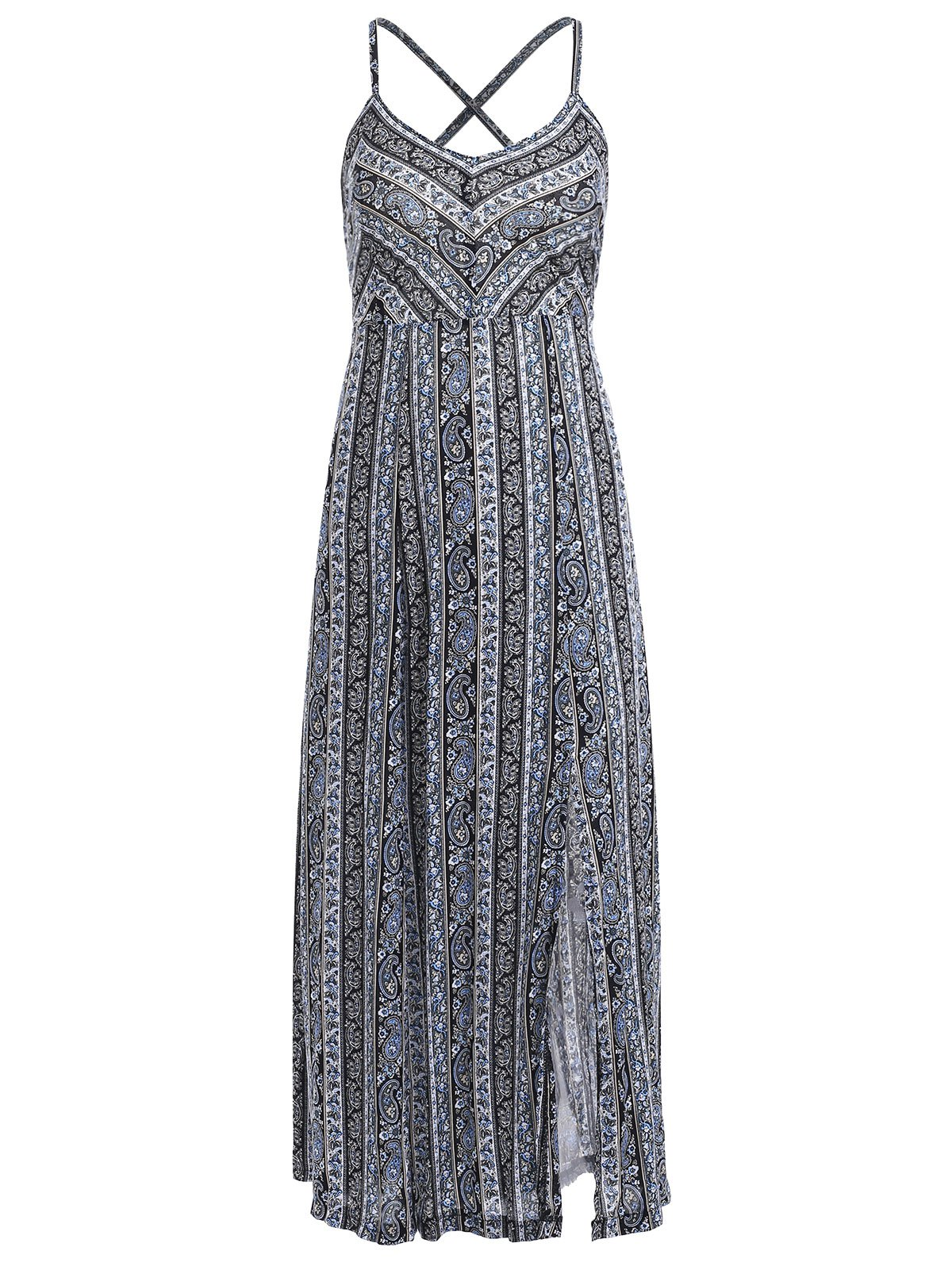 Tribal Print Lace Up Slit Maxi Dress - COLORMIX ONE SIZE