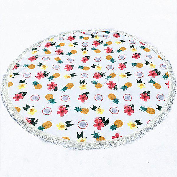 Tropical Style Tassel Fringing Yoga Mat Gypsy Cotton Tablecloth Cute Fruit White Round Beach Throw