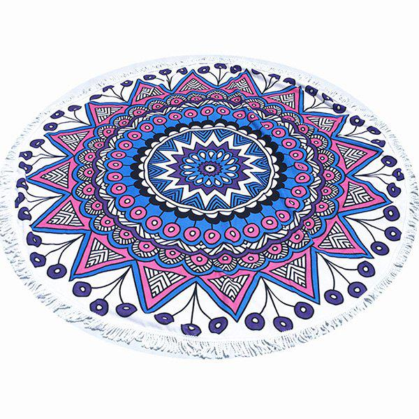 Tropical Style Tassel Fringing Yoga Mat Gypsy Cotton Tablecloth Flower Totem White Round Beach Throw - WHITE