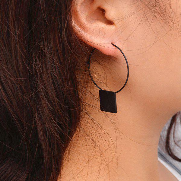 Pair of Cut Out Circle Square Shape Earrings - BLACK