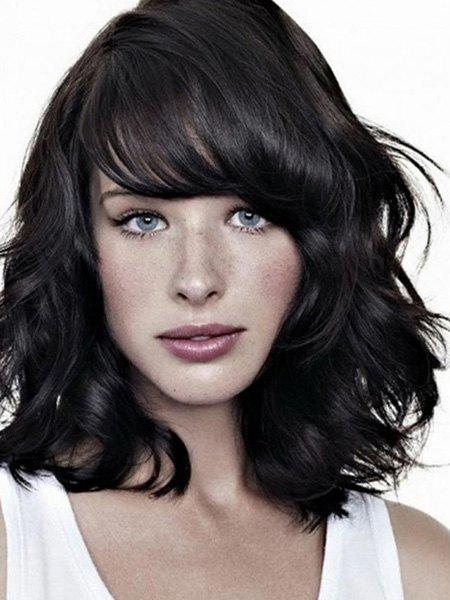 Graceful Jet Black Medium Capless Fluffy Wave Side Bang Women's Human Hair Wig